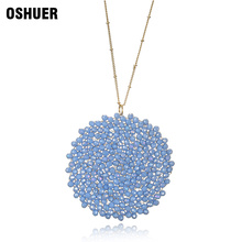 hot deal buy  oshuer 8 colors hand-woven crystal long necklaces pendants trend fashion women jewelry statement necklaces&pendants for women