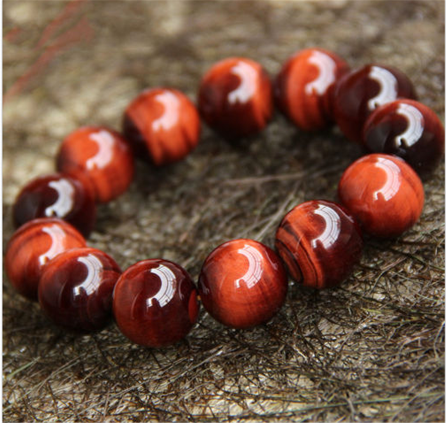 Genuine Natural Red Tiger's Eye stone Round Beads Bracelet 18mm AAAA цена и фото