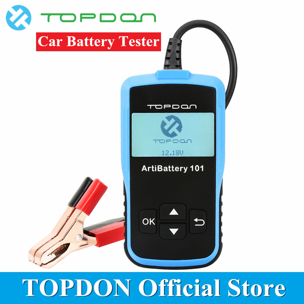 TOPDON ArtiBattery 101 Battery Tester Analyzer Automotive Diagnostic Cranking Charging System Tools 100-2000CCA 12V Light Trucks