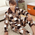 Flannel pajamas Men Autumn Winter Two-piece suit High-end brand Home clothing ABCD Plaid V-Neck Lapel Top