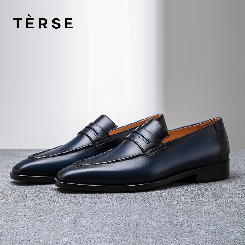 TERSE New Shoes calfskin men genuine leather dress shoes Comfortable handmade loafers shoes goodyear welted footwear 15770-30 goodyear leather shoes handmade custom business men leather italian brand new men dress shoes bespoke calfskin leather outsole