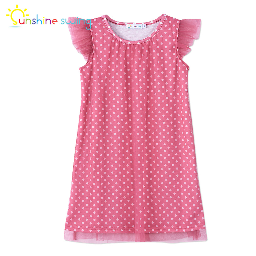 Sunshine Swing Baby Girl Cothing Dot Print Toddler Dress Summer Casual Girls A-line Midi Princess Dress