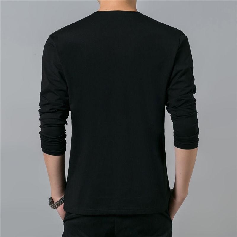 HTB1jkz8PpXXXXb7XpXXq6xXFXXXJ - COODRONY Cotton T Shirt Men 2018 Spring Autumn New Long Sleeve T-Shirt Men Henry Collar Tee Shirt Men Fashion Casual Tops 7617
