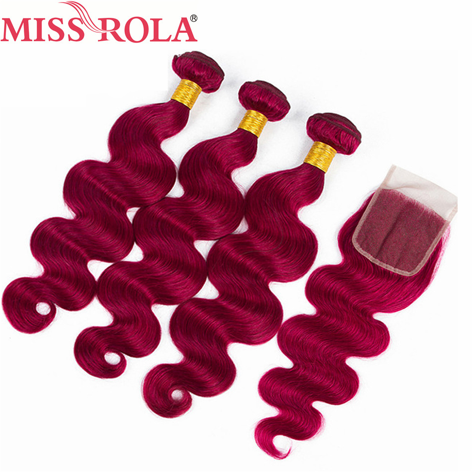 Miss Rola Hair Pre-colord Brazilian Body Wave Hair Weaving 3 Bundles With Closure #BUG Color 100% Human Non-Remy Hair Extension