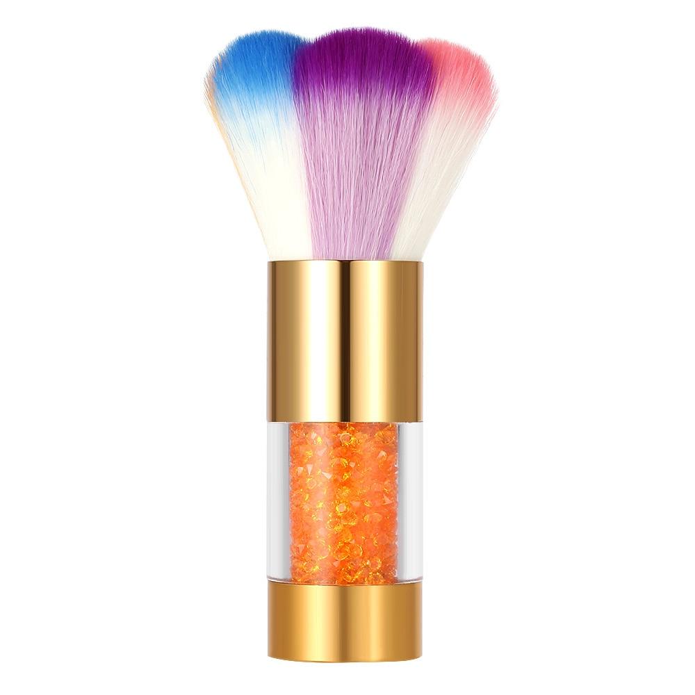 Colorful Rhinestones Nail Dust Brushes Acrylic&UV Nail Gel Powder Nail Art Dust Remover Brush Cleaner Makeup Brush Tool