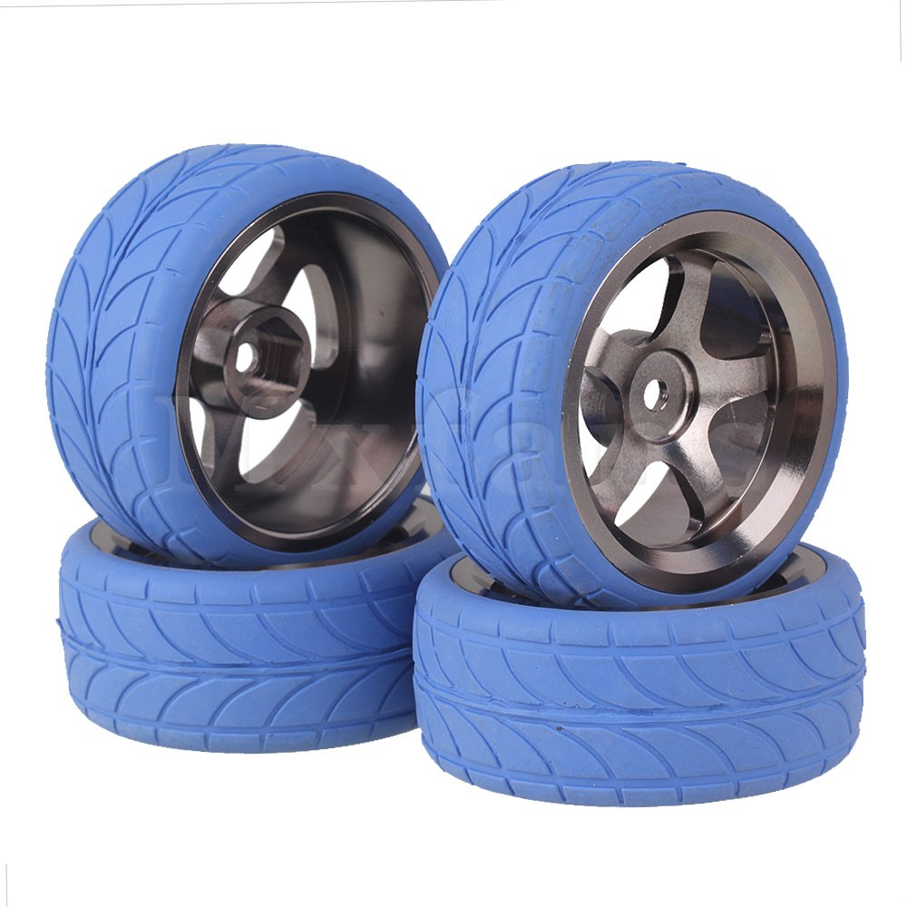 Blue Aluminium Alloy Wheel Rims for RC1:10 On-Road Car Set of 4