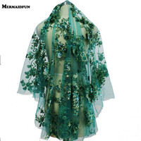 2019 Real Photos Luxury Shining Sequins Green Short Wedding Veil High Quality One Layer Cover Face Muslim Arabic Bridal Veil