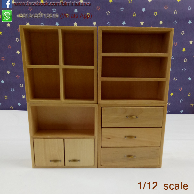 Wood Furniture Miniature Cabinet With 4 Section For 1:12 Dollhouse living room