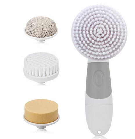 где купить  Healthsweet 4 In 1 Electric Facial Cleanser Deep Cleansing Skin Care Blackhead Removal Washing Brush Face Body Exfoliator Scrub  по лучшей цене