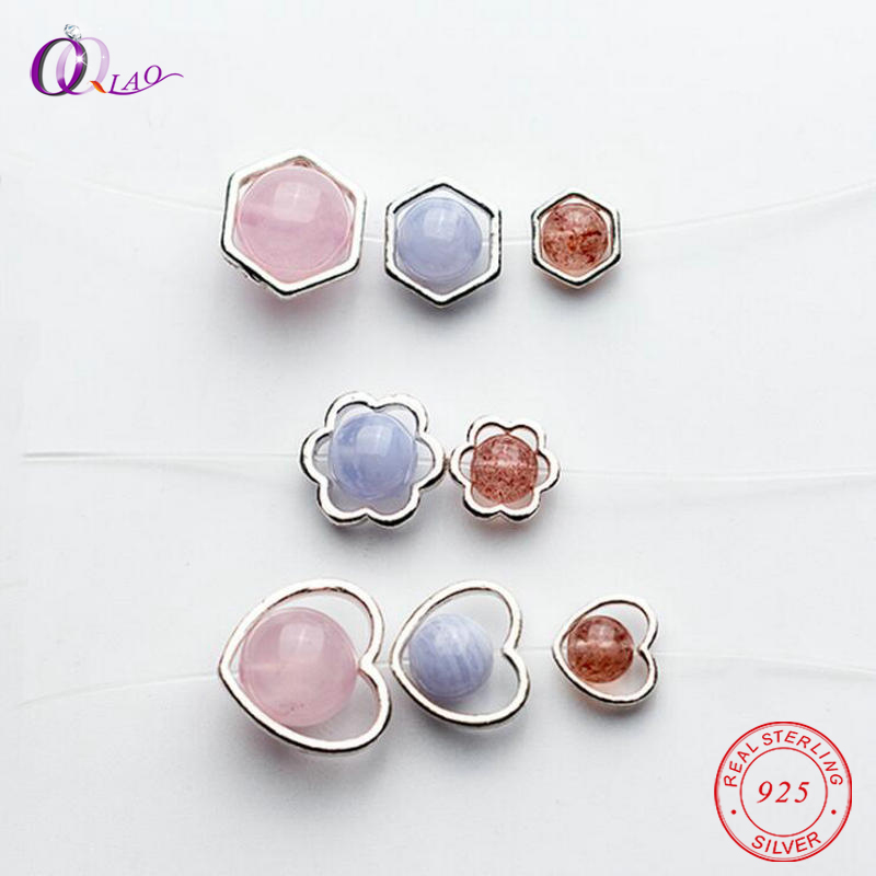 1 PCS 925 Sterling Silver Beads Silver 925 Jewelry Findings Hearts Hexagon Flowers Shape Beads Caps For Silver Bracelet&necklace