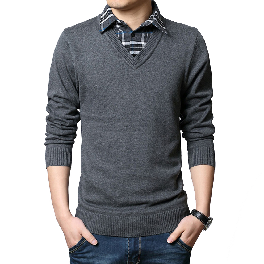 High grade new fashion autumn pullover men business casual for Mens sweater collared shirt