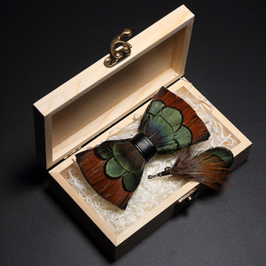 Image 5 - JEMYGINS Original Italy New Design Bowtie Natural Brid Feather Exquisite Hand Made Men Bow Tie Brooch Pin Wooden Gift Box Set
