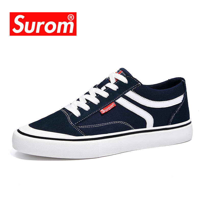 SUROM 2018 New Men's Canvas Casual Shoes Classic Low top Old school Lite Skate Shoes For Cool Boys Male Lace up Flat Sneakers e lov women casual walking shoes graffiti aries horoscope canvas shoe low top flat oxford shoes for couples lovers