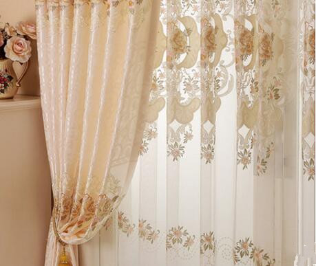 European curtain water soluble embroidery custom curtain finished product half shade living room finished roomEuropean curtain water soluble embroidery custom curtain finished product half shade living room finished room