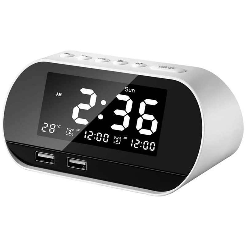 Alarm Clocks For Bedrooms, Led Digital Alarm Clock Radio With Fm Radio, Dual Usb Port For Charger, Dimmer Snooze Sleep Timer ,(China)