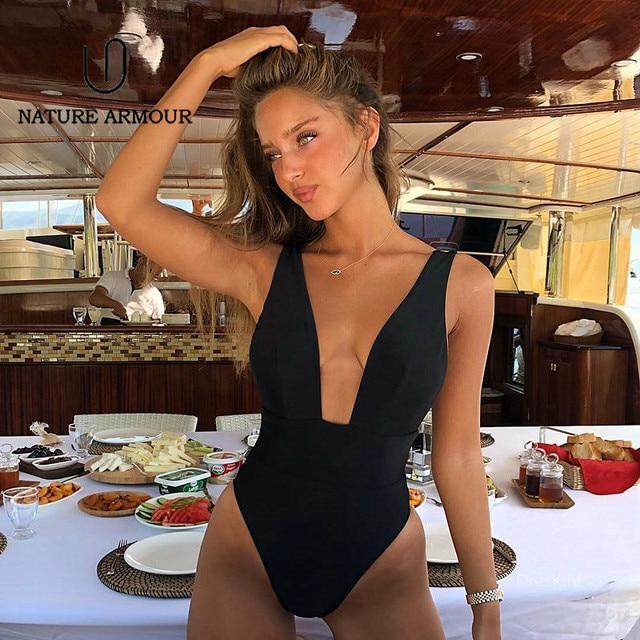 b56f06222943 2019 Sexy One Piece Swimsuit Deep V Swimwear Women Solid Halter Cut Out Monokini  Swimwear Bathing
