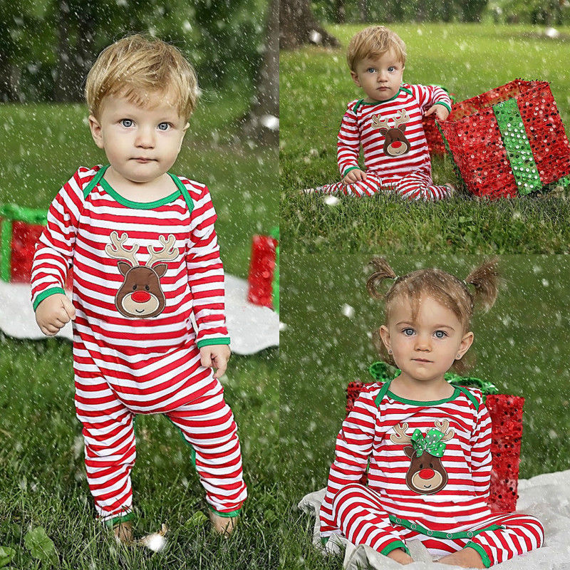4a8529d953 ... Christmas Brother Sister Newborn Kids Baby Boys Girls Matching Striped  Romper Pajamas ...