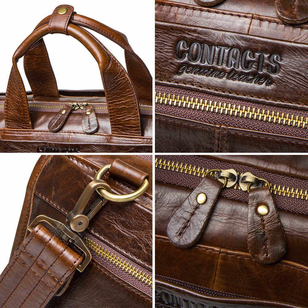 CONTACT'S جلد البقر الرجال حقيبة vintage رجل حقيبة سعة كبيرة ل 13.3 بوصة محمول maletin رجل حقيبة حاسوب رجل حقائب