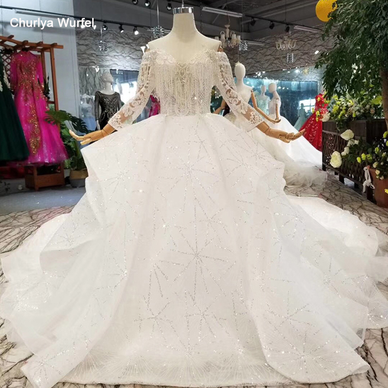 LSS147 New Design Wedding Dresses Tassel Off Shoulder Sweetheart Wedding Gown With Train More Layer Shiny Lace Puffy Skirt 2019