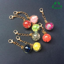 Glass Ball Long Chain Pendant Charms filled Hearts for Jewelry making 5pcs 55mm Length 16mm Dia with Gold chain Lobster