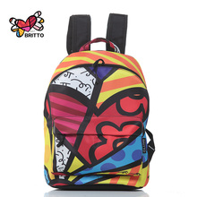ROMERO BRITTO 2016 Hot Sale College Wind Graffiti Backpack Satin Backpacks Travel  Bags Rucksack School bag Free Shipping