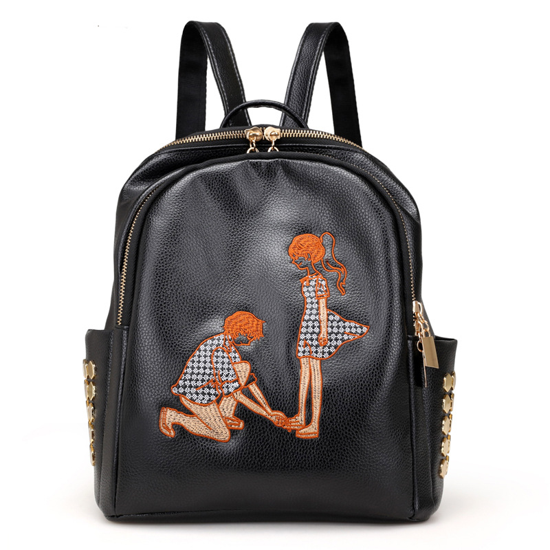 2018 New Backpack Women Fashion Embroidery Shoulder Bag Female Courier Hot Pu Bag Leisure Travel Backpack