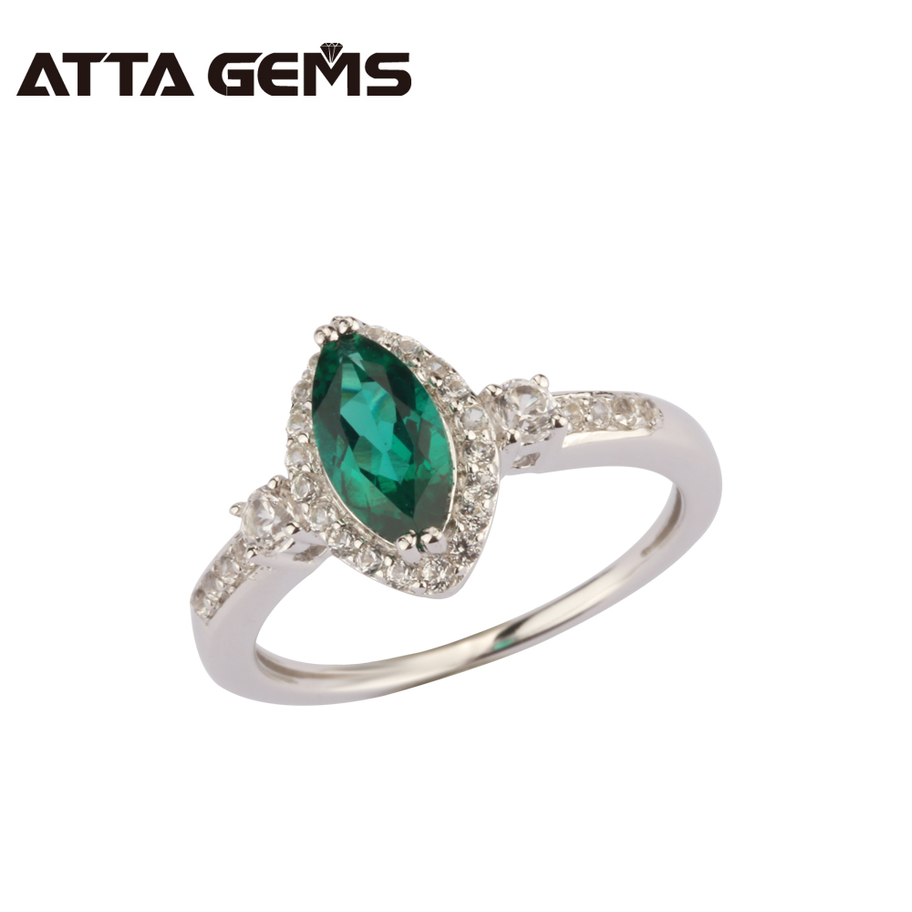 Green Emerald Sterling Silver Ring For Women Special Shape Fashion Design Fine Jewelry For Women Wedding And Engagement Ring