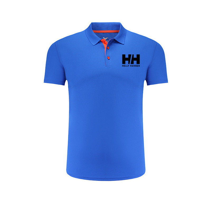 Summer Mens   Polo   Shirts Business Male Helly Hansen Letter Printed Lapel Shirts Cotton Fashion Quality Short Sleeves   Polo   For Man