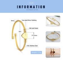 FINE4U B032 316L Stainless Steel Cuff Bracelet
