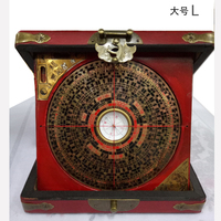 Chinese Feng Shui old compass with dragon wooden box SHIPPING FREESOM