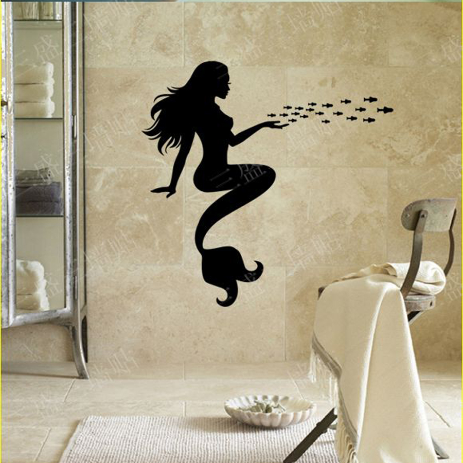 Online get cheap mermaid bathroom decor for Mermaid bathroom decor vintage
