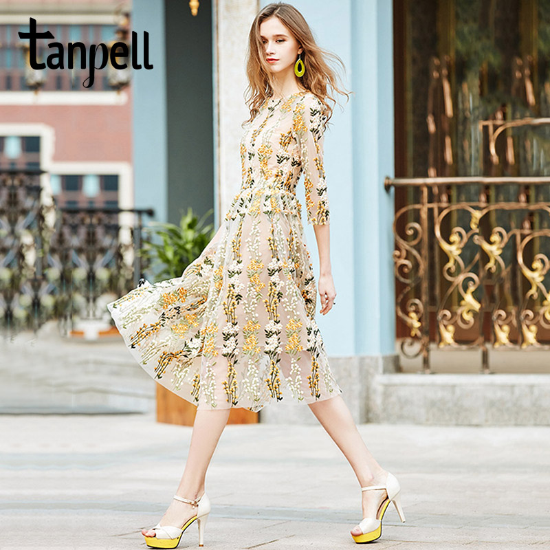 Tanpell floral long evening dress new yellow scoop tea length embroidery gown cheap three quarter sleeves