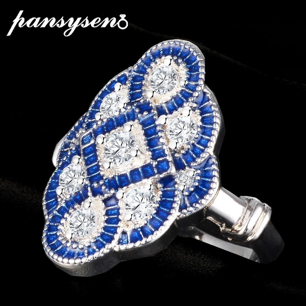PANSYSEN Sterling Silver 925 Jewelry Blue Sapphire Rings For Women Men Luxury Bohemia Geometric Engagement Party Ring Size 6-10