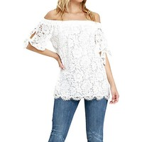 Sexy Off The Shoulder Women Blouses Lace Crochet Shirts Fashion Blusas Summer blusas feminina Short Sleeve Tops Blouses