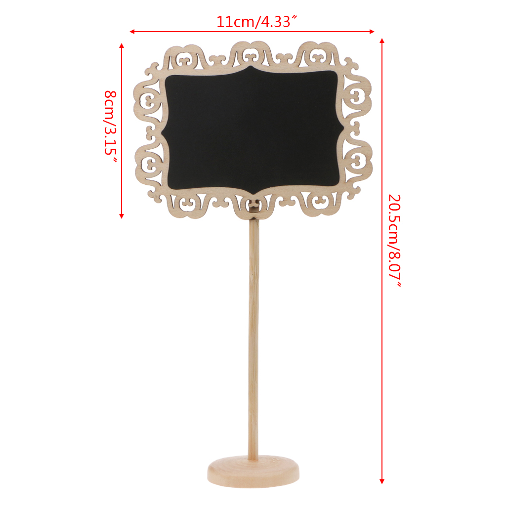 5Pcs Hollow Lace Mini Wooden Chalkboard Blackboard Message Table Number Wedding Party Decor Place Card Holder Nov-26B