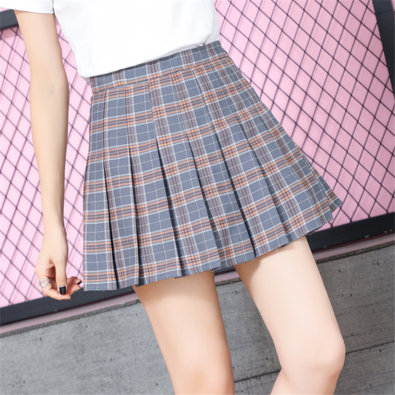 2019 New Spring High Waist Ball Pleated Skirt Harajuku Denim Skirts Womens Solid A-line Sailor Plus Size Japanese School Uniform
