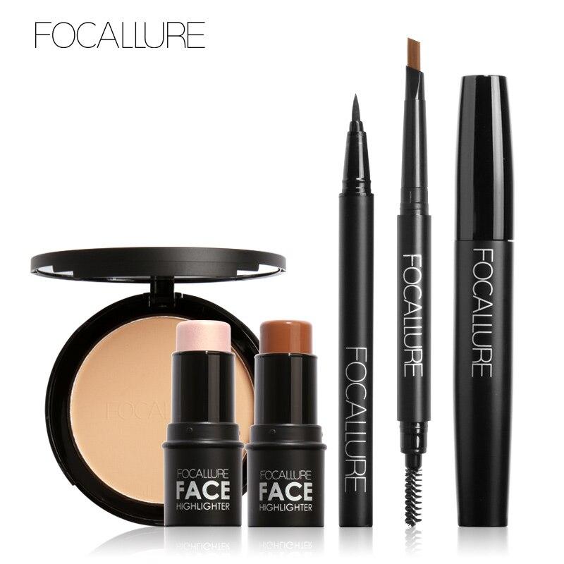 FOCALLURE 6Pcs Pro Eye Makeup Set Cosmetics with Golden Highlighter Sticker Eyebrow Pencil Mascara Tools
