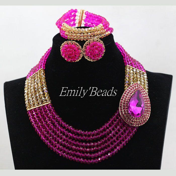 Chaud Fuchsia rose cristal perles colliers bijoux ensemble 2016 nouveau Costume africain bijoux ensemble mariage/fête livraison gratuite ALJ631