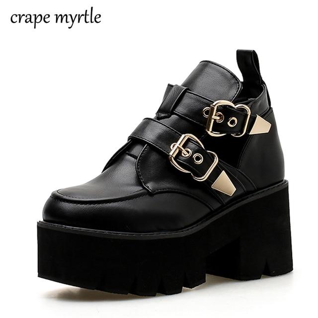 b9e6d9d635c5 просвет Ботинки в стиле панк; Женская Осенняя обувь; ботинки на ...