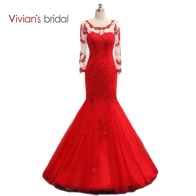 Vivian s Bridal Red Prom Dress Long Sleeve Crystal Lace Tulle Mermaid Evening  Dress See Through Back 82e2442968d4