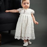 FBIL 화이트 레이스 짧은 소매 아기 드레스 세례/침례 모자, 높은 품질의 아기 소녀 첫번째 제 생일 드레스