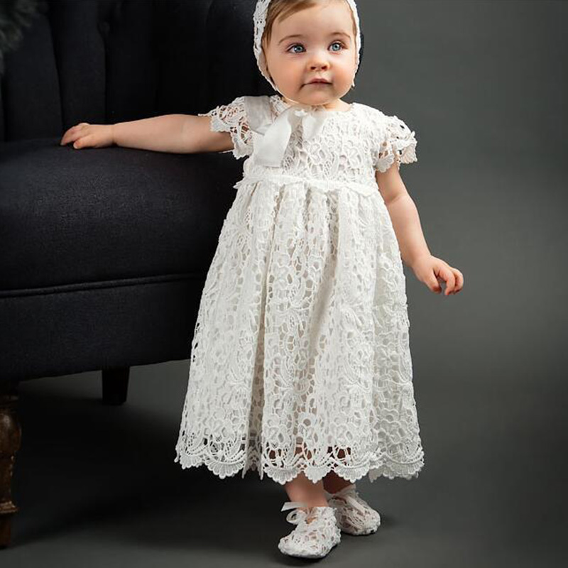 FBIL- White Lace Short-Sleeve Baby Dress Christening/Baptism with Hat,High Quality Baby Girl 1st 2nd Birthday Dresses Par christmas faux fur fitted velvet short party dress with hat