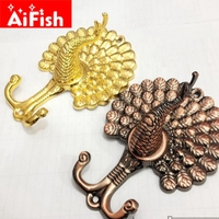 European High Quality Gold Peacock Wall Hook Coat Hook Curtains Accessories Curtain Tie Ball Continental