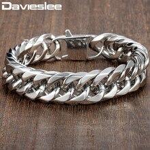 Davieslee 15ミリメートルメンズブレスレットシルバーカラー縁石キューバリンク316lステンレス鋼リストバンド男性ジュエリーDLHB289