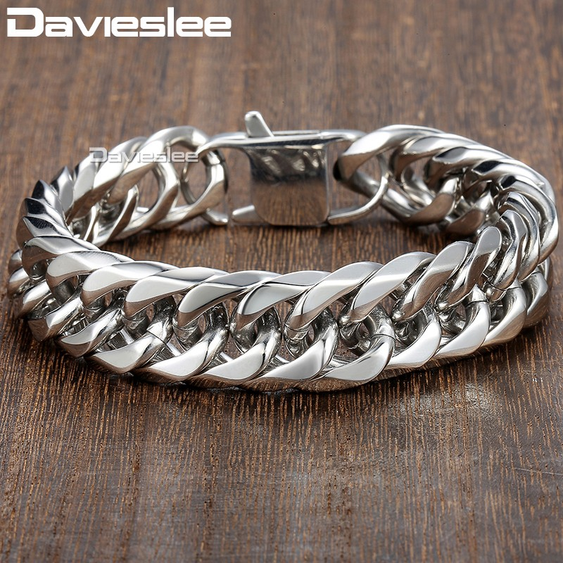 Davieslee 15mm Men's Bracelet Silver Color Curb Cuban Link 316L Stainless Steel Wristband Male Jewelry DLHB289 20mm heavy jewelry 316l stainless steel silver gold black cuban curb chain mens bracelet bangle 8 5 high quality male wristband