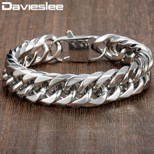 Davieslee 15mm Mens Bracelet Silver Color Curb Cuban Link 316L Stainless Steel Wristband Male Jewelry DLHB289