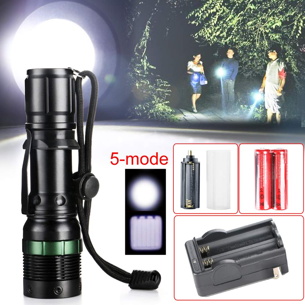 NEW 3000 Lumens Zoomable CREE XM-L T6 LED Waterproof 3 Modes Flashlight Torch Zoom Lamp Light Penlight 2X18650+US Charger new 2016 practical 3000 lumens high power led torch cree t6 led flashlight zoomable torch light camp 5 modes tactical flashlight