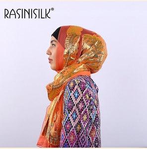 Image 2 - Silk Jacquard Scarf Shawl Islamic Woman Hijab Muslim Mulberry Silk Hijab Ethnic Ultralight Foulard Headscarf Womens Accessories
