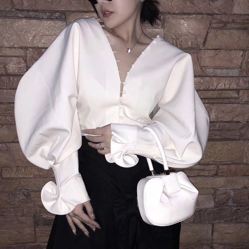 Women's Clothing Twotwinstyle Chiffon Shirt Ladies V Neck Lantern Sleeve Lace Up High Waist Draped Blouse Top 2018 Spring Fashion Vintage Clothes Quality First
