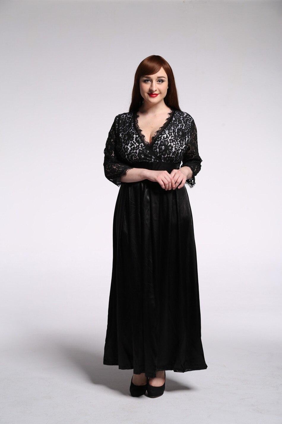 f721809a7d134 Clobee 2017 Womens Elegant Lace Party Dress Big Sizes Tunic Sexy Black Maxi  Long Dresses Plus Size 5XL 6XL 7XL vestidos de festa-in Dresses from Women s  ...